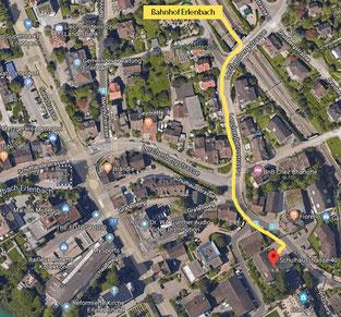Karte_Fussweg vom Bahnhof Erlenbach zur Schulhausstr. 40, Erlenbach (250m)