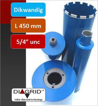 PRODITO Dikwandige kernboren of diamantboren met een nuttige lengte van 450 mm en 5/4 unc aansluiting voor het nat boren in beton en gewapend beton verkrijgbaar van diameter 14 mm tot diameter 350 mm