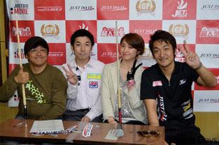 左から吉田アナ、有田プロ、江辺プロ、「超人」栗林プロ