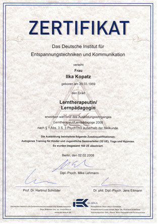 Zertifikat Lernpädagogik