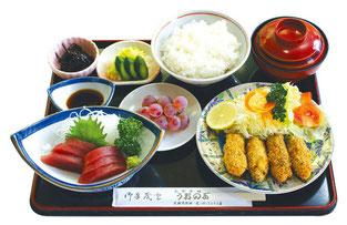 お刺身とカキフライ定食