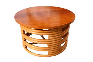 ラタン マホガニートップ ラウンド コーヒーテーブル 70cm