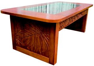 マホガニーカービンググラストップコレクションコーヒーテーブル