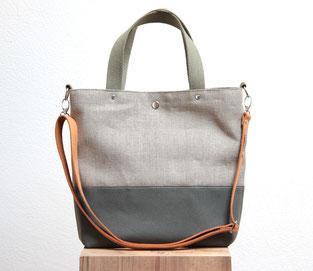 Canvas Tasche mit Lederriemen, Tasche aus Leinen mit Henkeln und Ledergurt, plastikfrei, in deutschland handgefertigt