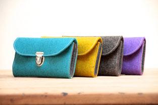 Geldbeutel aus Filz (Wollfilz 100% Wolle), in Deutschland handgefertigt, nachhaltig, biologisch abbaubar, plastikfrei, made in Germany