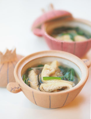 「揚げと小松菜のスープ(有賀さんレシピ)」Cocciorinoミニ土鍋