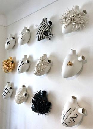 coeurs en céramique- coeur artistique- pièces uniques coeurs-FOS Ceramiche