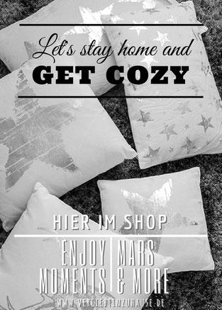 im Online Shop: Kissen mit Stern oder Hirsch in weiß,grau,silber von Mars und More kaufen