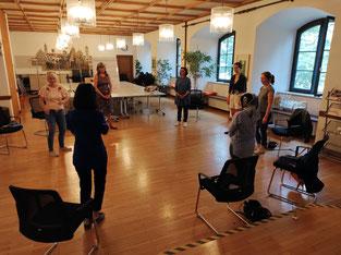 Hier geht es um Körpersprache und Übungen wie die Frauen als Königinnen mit erhobenem Kopf schreiten und wie sie Ihre Stärken vorstellen und verankern.