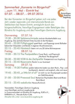 Konzerte im Bürgerhof 2016 Sommerfest 07.07., 08.07. und 09.07.2016
