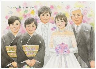 家族 結婚式の似顔絵プレゼント