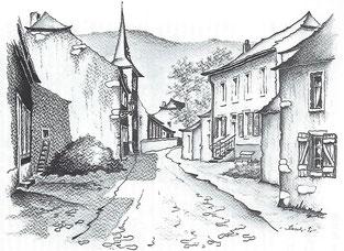 """Wissiswee - Avenue de la Gare  Rechts: Haus """"A Baachen"""" oder auch """"Bâcher"""" genannt  Wirtschaft von Bacher Gusty und Hengen  Links: die 1. Schule von Rollingen."""