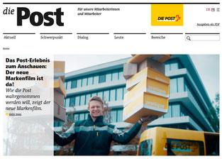 Auf der Webseite der Post-Personalzeitung werden die Mitarbeitenden über den neuen Markenfilm informiert und können ihn dort anschauen.