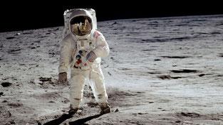 Buzz Aldrin 1969 als zweiter Mensch auf dem Mond