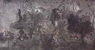 水墨七贤  SEVEN SAINTS 80X166CM   纸本水墨与植物色 INK & MINERAL COLOR ON PAPER  2002