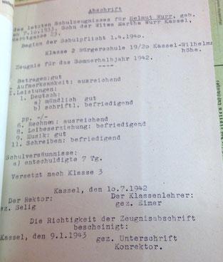 Abschrift des Zeugnisses für Helmut Wurr