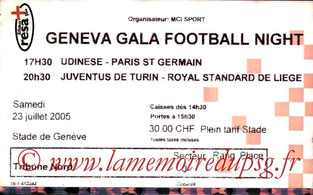 Ticket  Udinese-PSG  2005-06