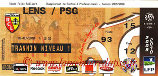 Ticket  Lens-PSG  2009-10