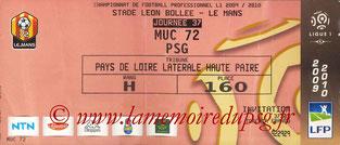 Ticket  Le Mans-PSG  2009-10