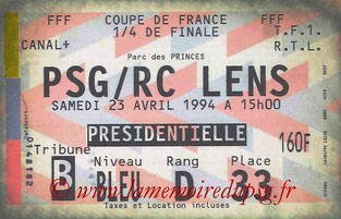 Ticket  PSG-Lens  1993-94