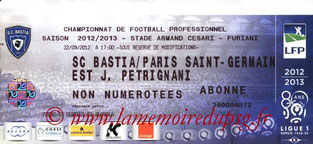 Ticket  Bastia-PSG  2012-13