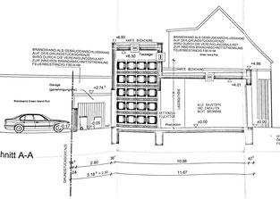 Entwurf der Seitenansicht vom Kalktor gesehen