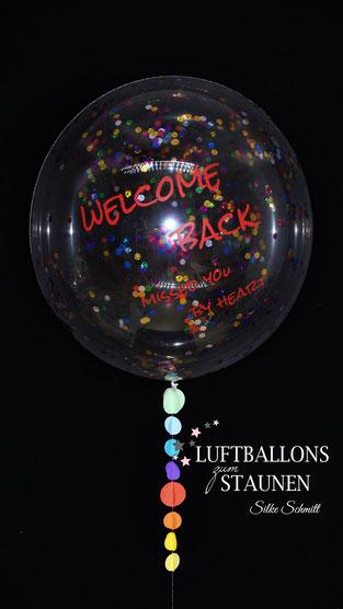 Bubble Ballon Luftballon Geschenk beschriftet durchsichtig Feder Helium runder Geburtstag 40 50 60 70 80 90 Heliumballon personalisiert individuell Namen Versand Wunschbubble Herz Baby Geburt endlich da Mädchen Junge  Frau Welcome back Willkommen zurück