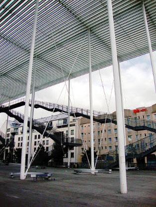 Auvent Theaterplein Anvers Secchi-Vigano BAS ARA contreventement croix de Saint-André