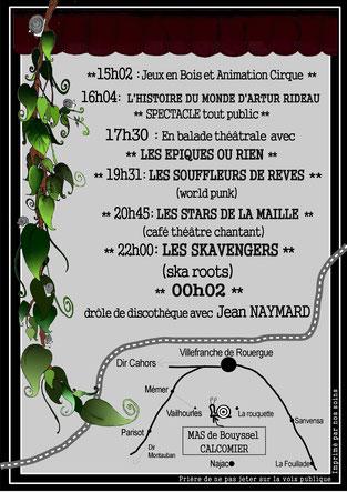 """Flyer du Festival """"L'Estafette de l'Escargot"""" VERSO"""