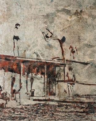 PEER BOEHM, PLAYSTATION, 2018 Aquarell, Tusche und Acryl auf Nessel, 100 x 80 cm, € 5.000,--