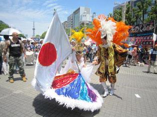 名古屋ブラジルフェスタのカーニバルで踊る人たち