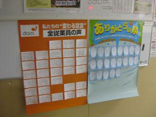 バックヤードの掲示板には、お客様からの声や従業員からの声が貼られています。