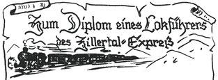 Diplom eines Loführers des Zillertal-Express