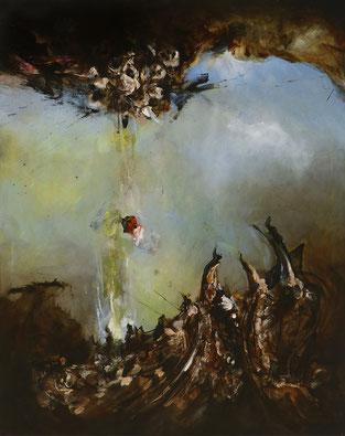 Du ciel à la terre acrylique sur toile dim 116cmx89cm