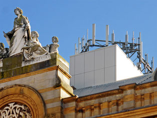 Mobile network antennas on a Telstra building in Launceston, Tasmania provide mobile data