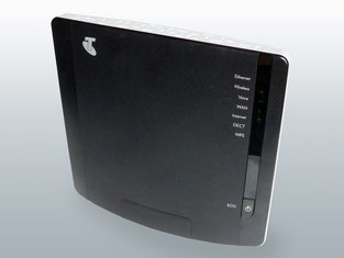 A domestic modem Wi-Fi router provides home Wi-Fi