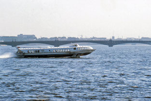 A 1960's-style hydrofoil ferry on the Neva River, Stalingrad, in 1989