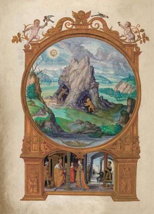 Extraction de la matière première et ses quatre éléments, f. 13v. Temple de Paris