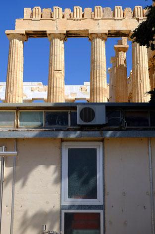Mathieu Guillochon photographe, voyage, Grèce, Athènes, Acropole, temple, art, architecture, Phidias, Parthénon, colonnes, travaux, , couleurs.