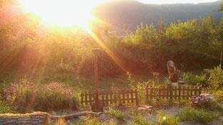 Abendstimmung im Garten der Juval Alp