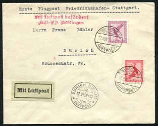 """12.6.1926 Kopenhagen, R-FLP Brief Kopenhagen-Hamburg (Umlad)27.3.1929 Danzig, Flugpostfrankatur, im Transit durch die Schweiz nach Frankreich. Ab Berlin mit DLH via Stuttgart-Genf-Marseille (diese Linie bestand seit 1928), rückseitig Stempel """"Berlin CL 2"""""""