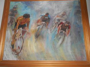 Von Brünndel gemaltes Bild als Geburtstagsgeschenk für mich, einen begeisterten Radfahrer