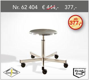 Hygienischer Edelstahl OP-Rollhocker NIRO-MED-MIDI  - Keime haben auf diesen hochwertig polierten Oberflächen keine Überlebenschance.