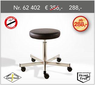 Edelstahl OP-Rollhocker NIRO-SOFT-MIDI  mit anthrazitfarbenem Antistatic-Polster und hygienischer Abdeckung aus Edelstahl unter dem Sitz.