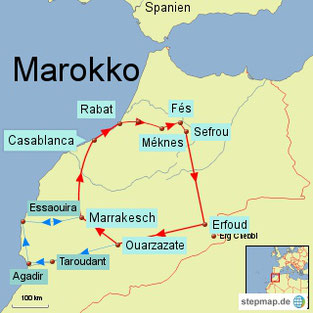 Bild: Karte der Rundreise durch Marokko für 2 Wochen