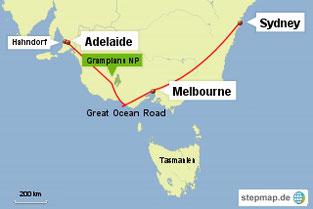 Bild: Karte mit der Reiseroute von Süd-Ost-Australien