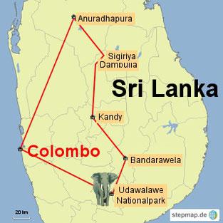 Bild: Karte der 1-wöchigen Rundreise durch Sri Lanka