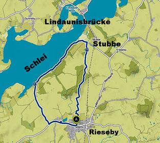 Bild: Karte der Wanderung: Lindaunisbrücke an der Schlei in Schleswig Holstein