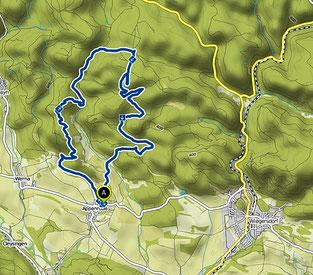 Bild: Wanderkarte nördlich von Appenrode im Südharz