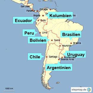 Bild: Karte von Südamerika